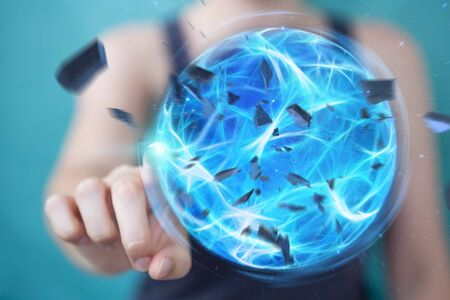 彼女の手の3Dレンダリングで爆発青いパワーボールを作成するスーパーヒーローの女性