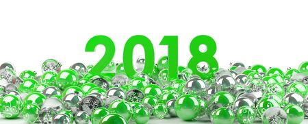 2018 new year eve with green and white christmas baubles 3D rendering Stock Photo