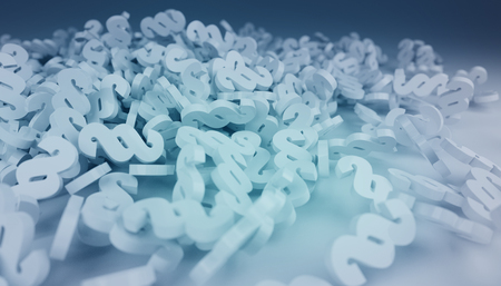 3D rendering law paragraph icons falling on the floor on blue background Banque d'images