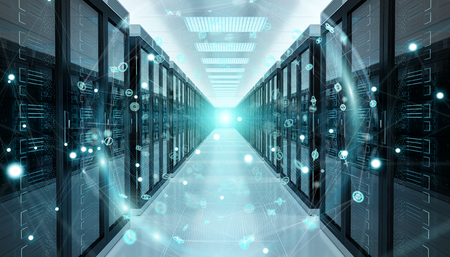 Digital white Earth network flying over server room data center 3D rendering Stok Fotoğraf