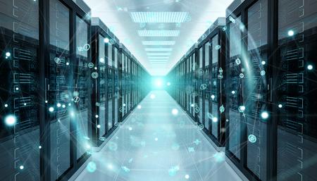 Réseau numérique terrestre numérique survolant le rendu 3D du centre de données de la salle des serveurs