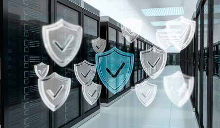 White and blue firewall activated on server room data center 3D rendering Фото со стока