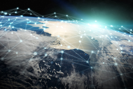 Connections system and global datas exchanges over the globe 3D rendering