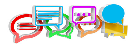 Digital colorful 3D rendering conversation icons on white background