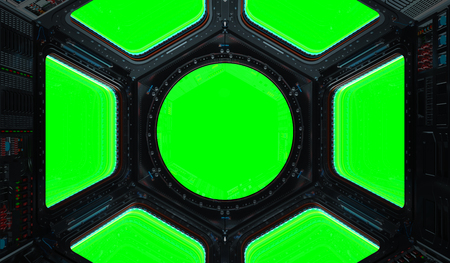 Space station window with green background 3D rendering