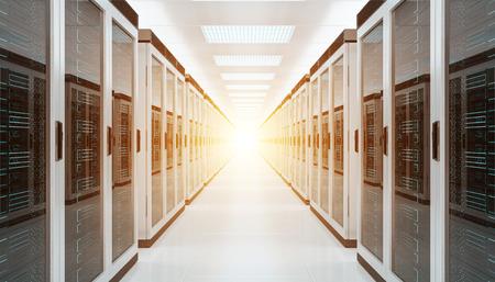 明るいサーバールームデータセンターストレージ内部3Dレンダリング