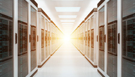 Bright server room data center storage interior 3D rendering Archivio Fotografico