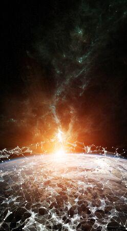 Globales Netzwerk und Datenaustausch über den Planeten Erde 3D Rendering Elemente dieses Bildes von der NASA eingerichtet