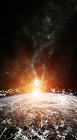 Global network and datas exchanges over the planet Earth 3D rendering elements of this image furnished by NASA Standard-Bild