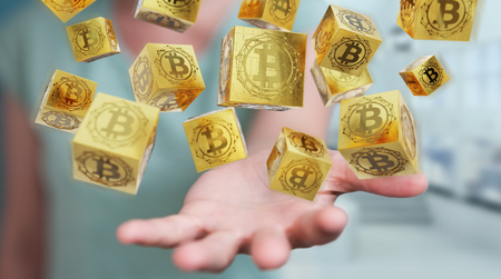 Businesswoman on blurred background using bitcoins cryptocurrency 3D rendering