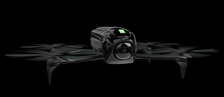 Modern drone on black background 3D rendering