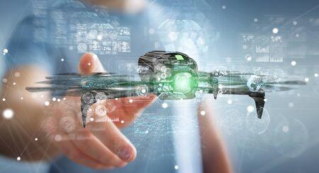 Biznesmen na niewyraźne tło przy użyciu renderowania 3D nowoczesny drone