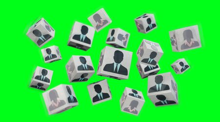 Candidate for a job cube illustration on green background 3D rendering Stock Photo