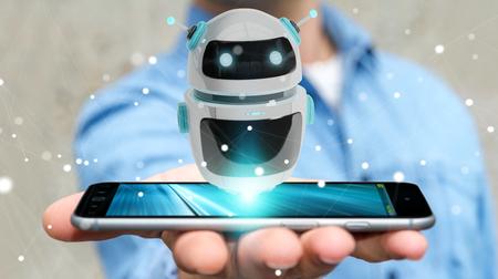 デジタルチャットボットロボットアプリケーション3Dレンダリングを使用してぼやけた背景のビジネスマン