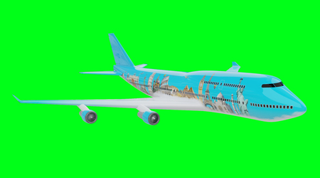 Plane with famous landmarks of the world isolated on green background 3D rendering