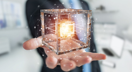 Businessman on blurred background using futuristic cube textured object 3D rendering