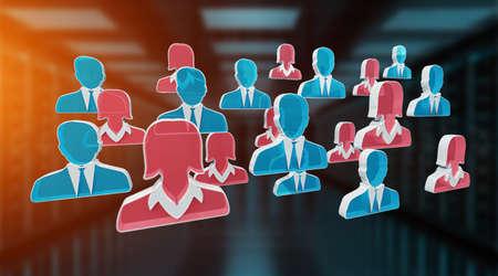 Candidate for a job illustration on blue server background 3D rendering