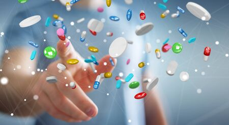 Businessman on blurred background holding and touching floating medicine pills 3D rendering