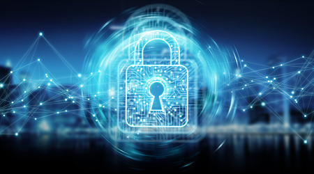 Digital padlock securing datas with connections on blue city background 3D rendering Stockfoto