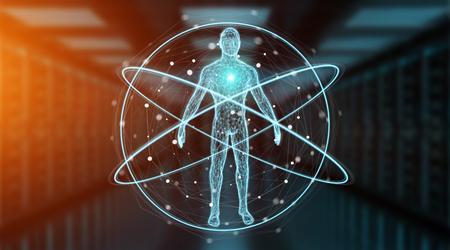 Interface de varredura do corpo humano de raio-x digital na renderização 3d fundo azul