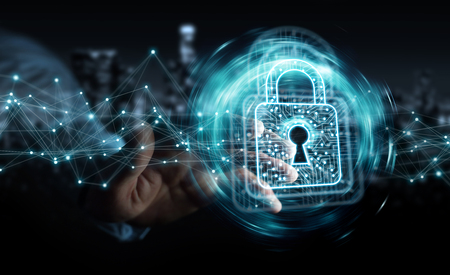 Businessman on blurred background using digital padlock with data protection 3D rendering