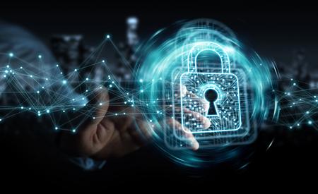Homme d'affaires sur fond flou à l'aide d'un cadenas numérique avec le rendu 3D de protection des données