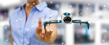 Businesswoman on blurred background using modern drone 3D rendering