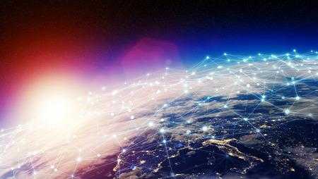 Système de connexions et échanges de données globales sur les éléments de rendu 3d de graphique Banque d'images - 93259352