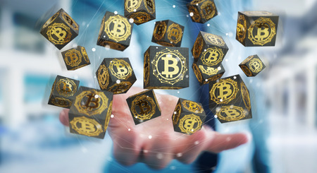 Businessman on blurred background using bitcoins cryptocurrency 3D rendering 写真素材