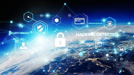 Cyber-Sicherheit und Verbindungen über die Kugel 3D-Rendering Standard-Bild - 93256029