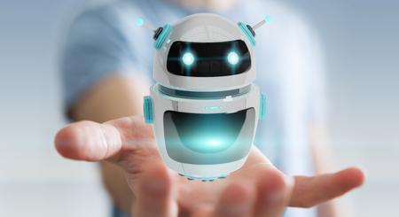Geschäftsmann auf unscharfem Hintergrund unter Verwendung der digitalen Wiedergabe der Chatbot-Roboteranwendung 3D Standard-Bild - 93256030