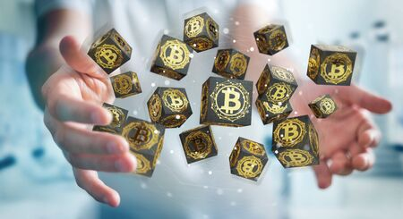 Businessman on blurred background using bitcoins cryptocurrency 3D rendering Stock Photo
