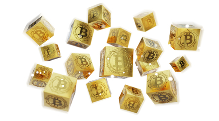 Bitcoins exchanges and connections on white background 3D rendering