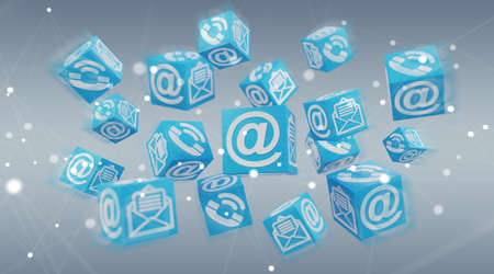 Floating cube contact illustration on blue background 3D rendering