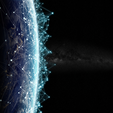 Connections system and global datas exchanges over the globe 3D rendering elements