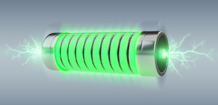 Green battery with lightnings on grey background 3D rendering Archivio Fotografico