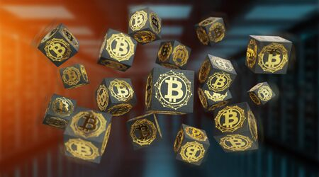 Bitcoins exchanges and connections on server background 3D rendering