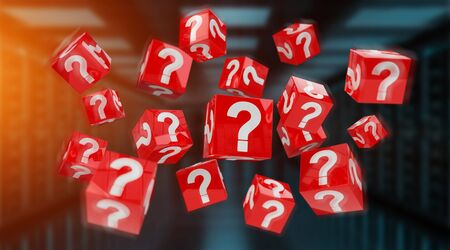 Cubes with 3D rendering question marks on blue server background Stock Photo
