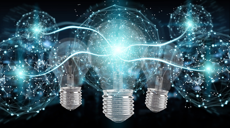 Bright lightbulb illuminating other bulbs with connections 3D rendering