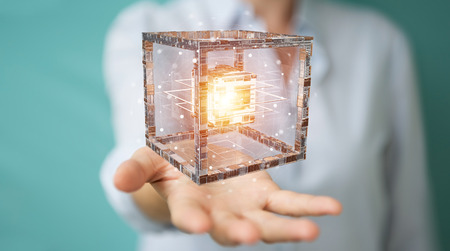 Businesswoman on blurred background using futuristic cube textured object 3D rendering