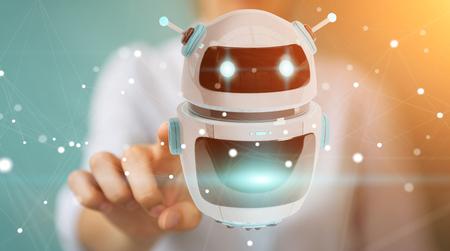 Businesswoman on blurred background using digital chatbot robot application 3D rendering