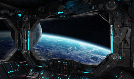 Spaceship grunge interior with view on planet Earth 3D rendering Foto de archivo