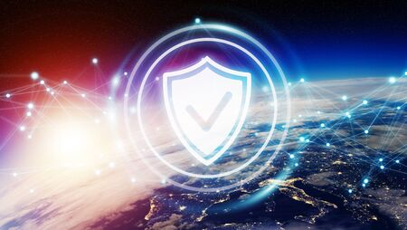 Cyber security and connections over the globe 3D rendering elements of this image Stock Photo