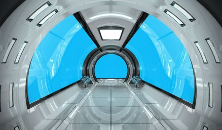 Spaceship bright interior with blue window view 3D rendering Фото со стока - 93862554