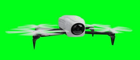 Modern drone on green background 3D rendering