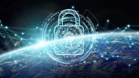 Cyber security and connections over the globe 3D