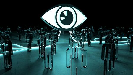 Big eye watching a group of people on dark background 3D rendering