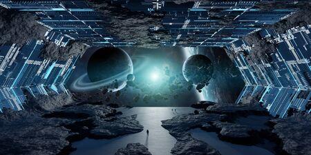 Huge blueish asteroid spaceship interior 3D Zdjęcie Seryjne