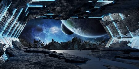 Huge blueish asteroid spaceship interior 3D rendering Stock Photo