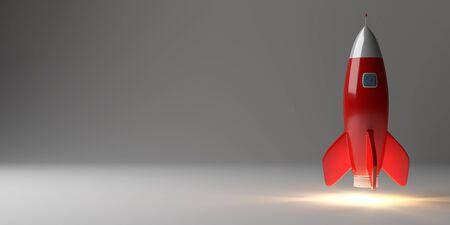 Lancement de fusée moderne numérique sur fond gris rendu 3d Banque d'images - 93712791